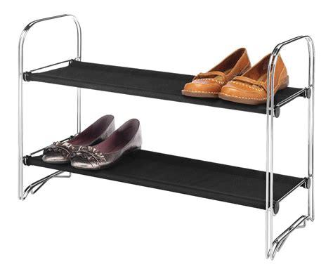 essential home silver black 2 tier fabric metal shoe rack