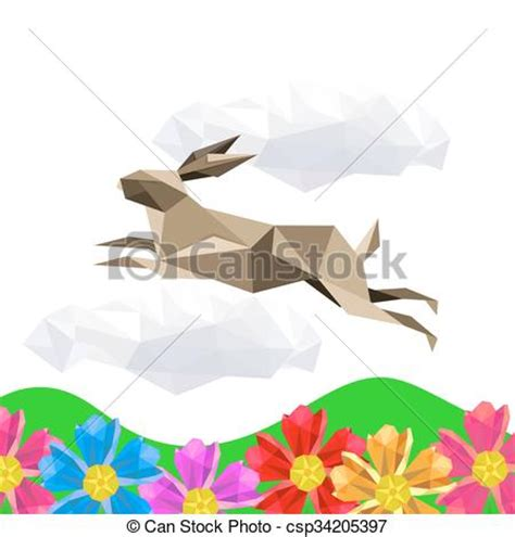 Origami Jumping Rabbit - eps vectors of illustration with jumping origami rabbit on