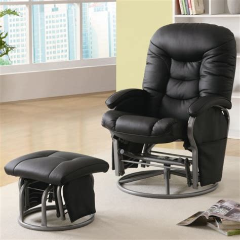 leather glider rocker with ottoman coaster recliners with ottomans casual leatherette glider