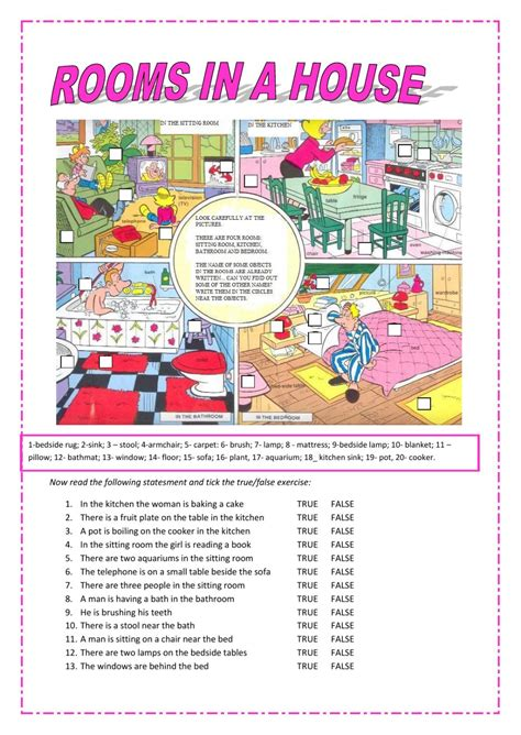 rooms in a house rooms in a house interactive worksheet