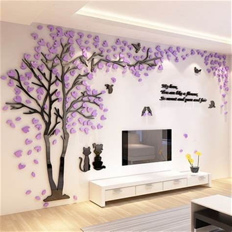 home decor stickers wall creative tree 3d sticker acrylic stereo wall