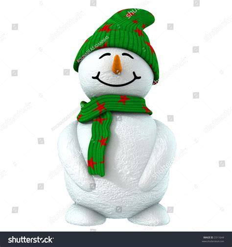 How To Make A 3d Snowman Out Of Paper - 3d snowman with green hat stock photo 2311644