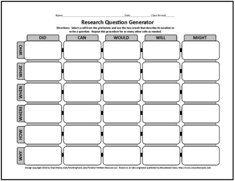 Or Question Generator More Free Graphic Organizers For Studying And Analyzing