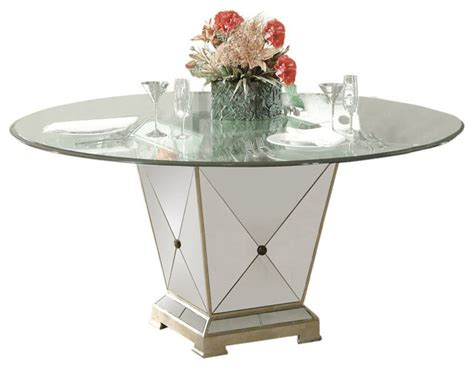 Mirror Glass Dining Table Bassett Mirror Borghese 60 Inch Pedetal Glass Top Dining Table Contemporary Dining