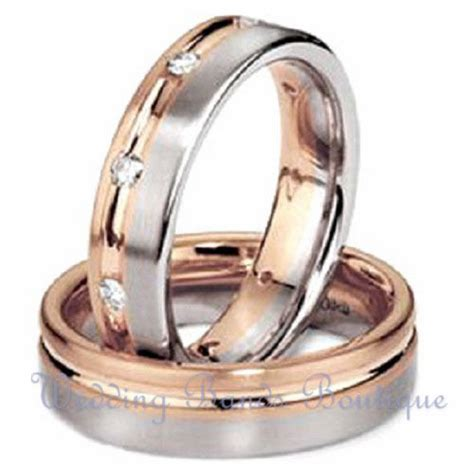 white pink rose gold   matching wedding bands