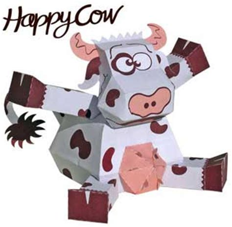 Papercraft Cow - happy cow paper paperkraft net free papercraft