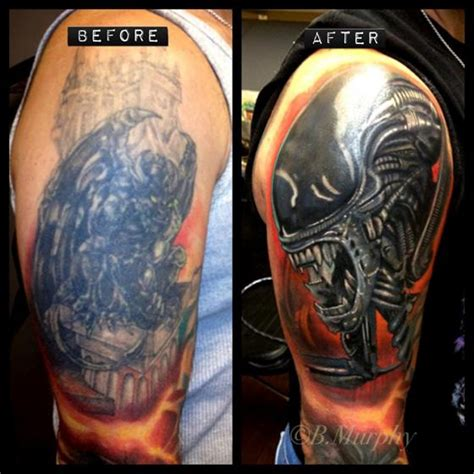 tattoo cover up red over black cover up over large black tattoo by brian murphy tattoonow