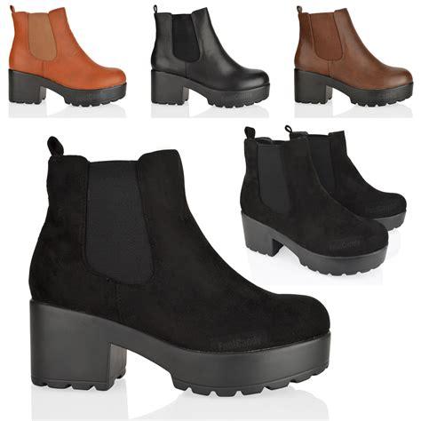 Chunky Heel Platform Ankle Boots womens mid block heel slip chunky platform chelsea