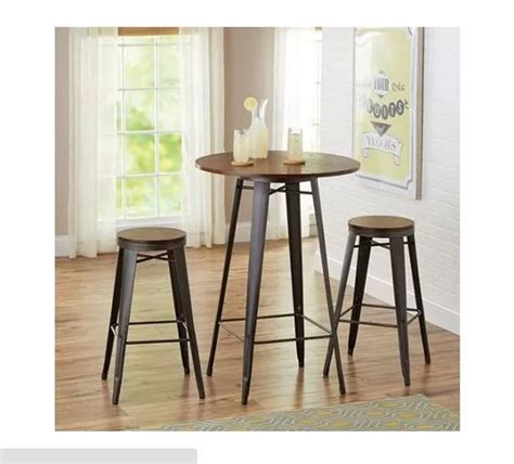 Pub Style Dining Table Rustic Dining Set 3 Bistro Bar Table Kitchen Counter Stools Wood Metal Pub Dinetteset