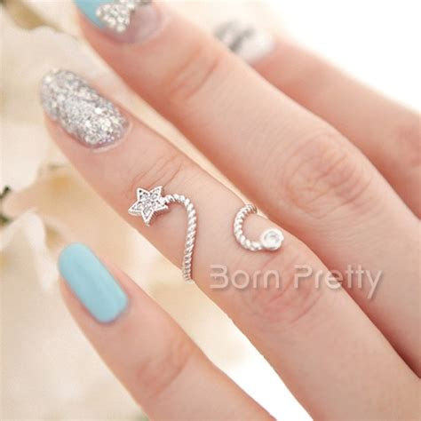 1 69 1pc exquisite spiral open ring rhinestoned star butterfly flower design knuckle ring