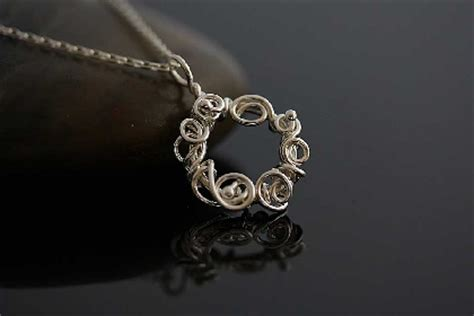 Handmade Wire Necklaces - silver wreath handmade wire wrapped necklace on handmade