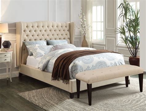 beige bed acme furniture 20644 beige wingback tufted nailhead trim