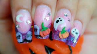 halloween 3d nail art cute purple glitter acrylic design