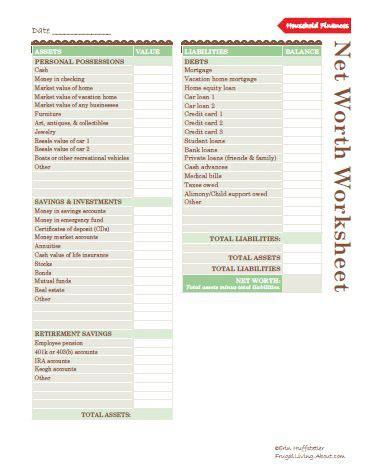 Net Worth Spreadsheet by Money Saving Kitchen Printables