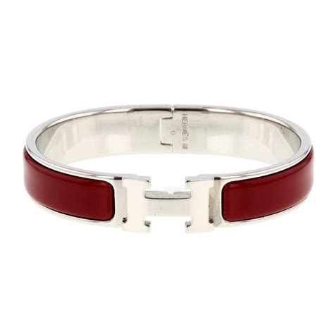 [235347] Hermes Bracelet Clic Clac H en palladium et émail rouge   Bijoux   Catalogue