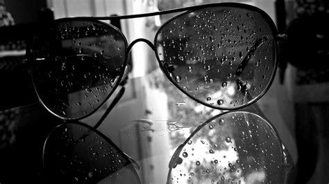 glasses monochrome water drops aviator black white