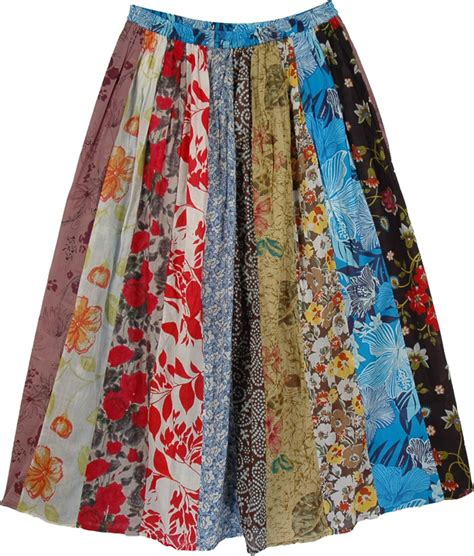 How To Make A Patchwork Skirt - colorful vintage multi print skirt clothing