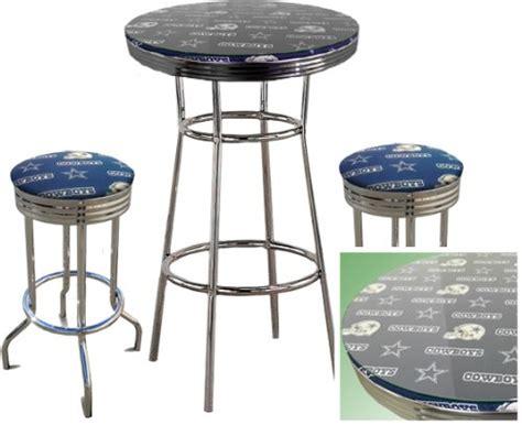 glass top bar table set dallas cowboys nfl football glass top chrome bar pub table