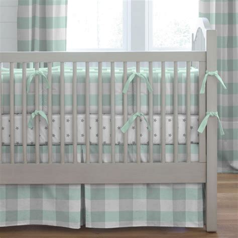 mint  gray buffalo check crib bedding carousel designs