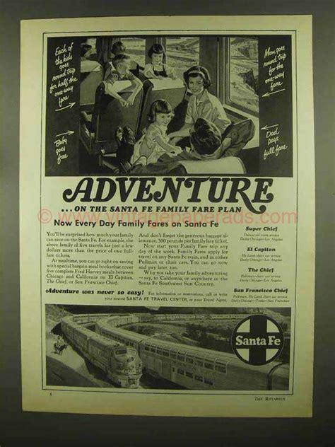 1965 santa fe railroad ad adventure family fare plan