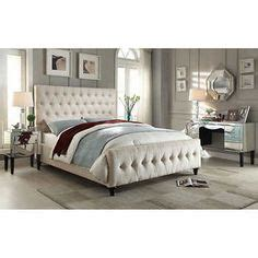 costco upholstered headboard natural linen queen size button tufted upholstered bed
