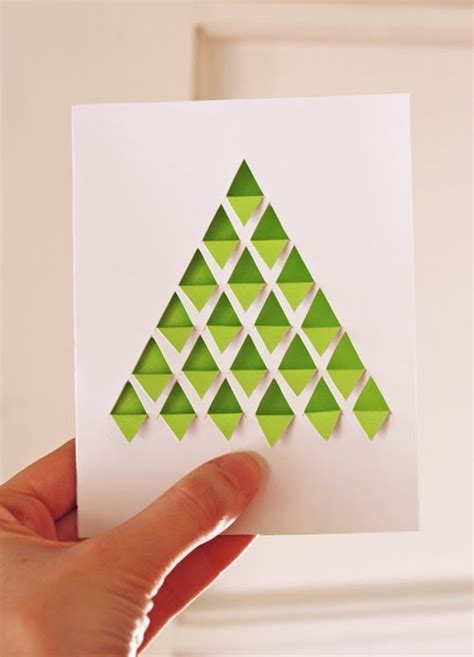 diy geometric christmas tree card how about orange
