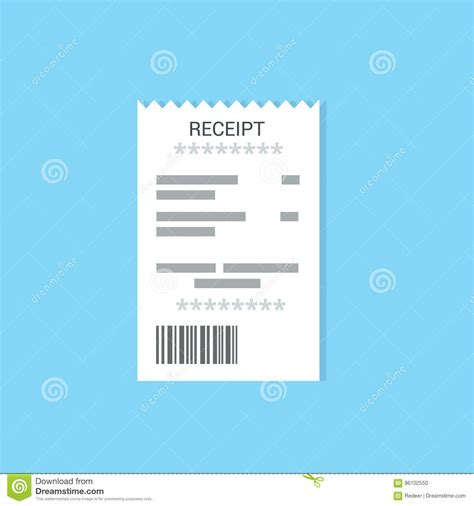 official receipt template ai bank check flat icon vector illustration cartoondealer