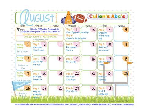 kindergarten themes for august preschool calendars christian children activities