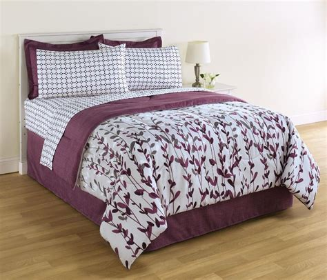 king size white and purple comforter and sheet set floral