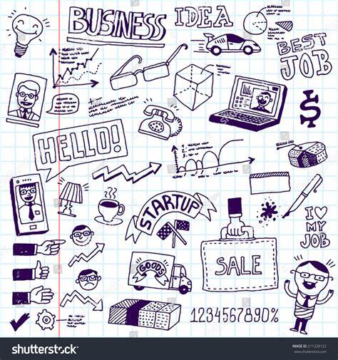 doodle startup business startup doodle sketch concept set stock vector