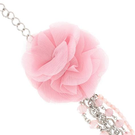 Kn71739 Kalung Choker Layer Pink Flower beaded necklace light pink faceted layered chains flower