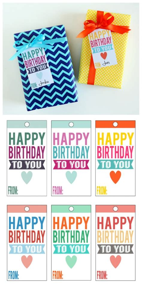 Printable Birthday Gift Tags Cards - printable happy birthday tags eighteen25