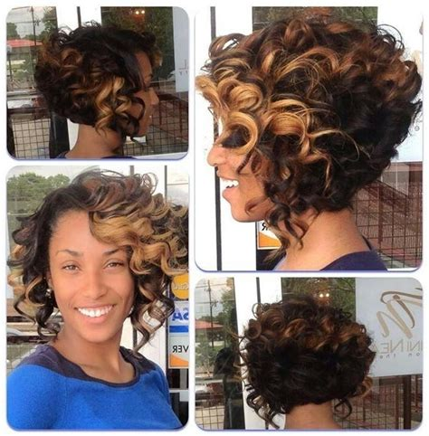 short hair cut that are sewn in 15 photo of curly bob hairstyles for black women