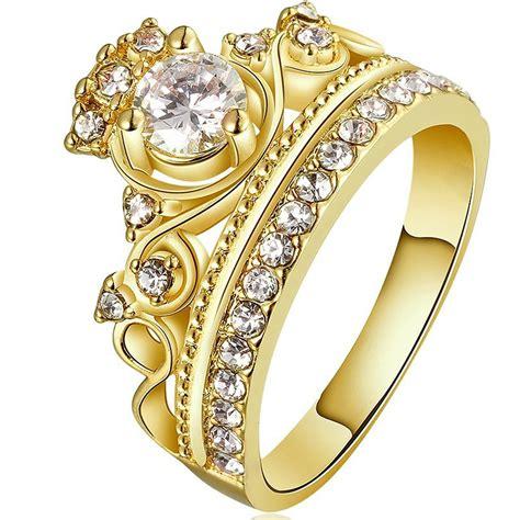 18k Gold Rhinestone Ring 18k gold plated crown zircon ring