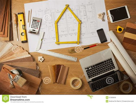 home interior work architect and interior designer work table stock image