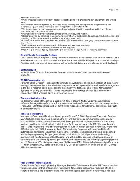 Satellite Installer Sle Resume by Src Resume