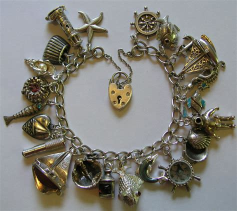 vintage and charms vintage silver nautical sea charm bracelet 22 charms