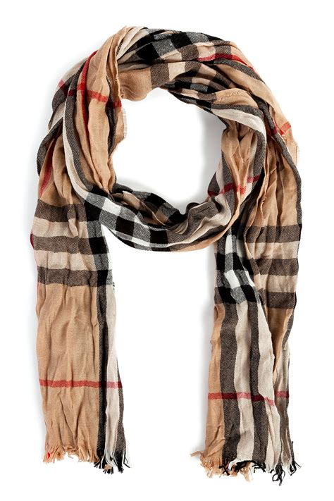 burberry checked scarf in for lyst