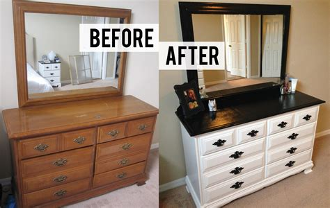 before and after diy bedroom dresser makeover with 10 drawer and black metal handle painted with