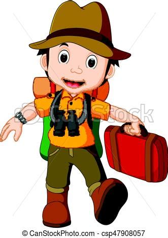 illustration of cartoon traveler with a large backpack.