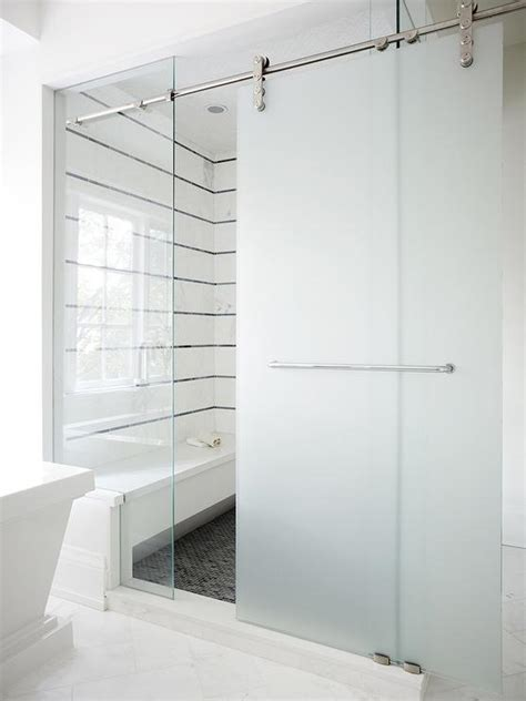 Frosted Shower Door Frosted Glass Sliding Barn Shower Door Design Ideas