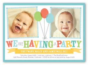 bright balloons 5x7 invitation twin birthday invitations
