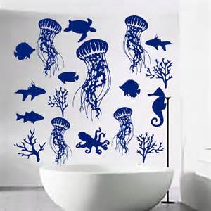 Seashell Wall Stickers Fish Wall Decal Sea Shell Art Jellyfish Decals Vinyl By