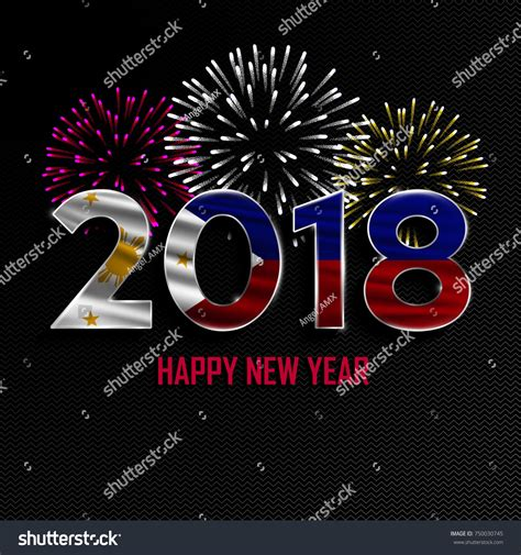 new year 2018 in philippines happy new year merry 2018 stock vector 750030745