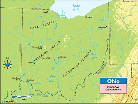 physical map of ohio major landforms in ohio search engine at search