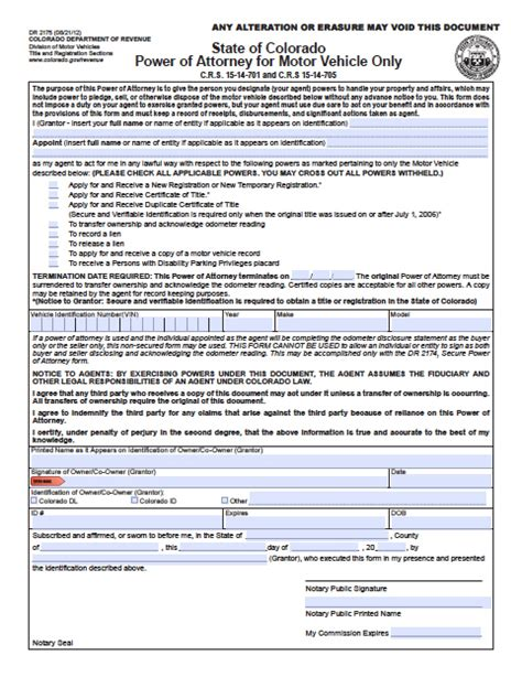 Auto Attorney Colorado Springs 2 by Colorado Vehicle Power Of Attorney Form Power Of