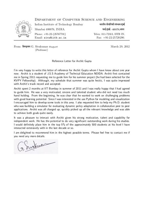 Recommendation Letter From Employer For Ms In Cs Recommendation Letter Prof G Sivakumar H O D Cfdvs Iit Bombay