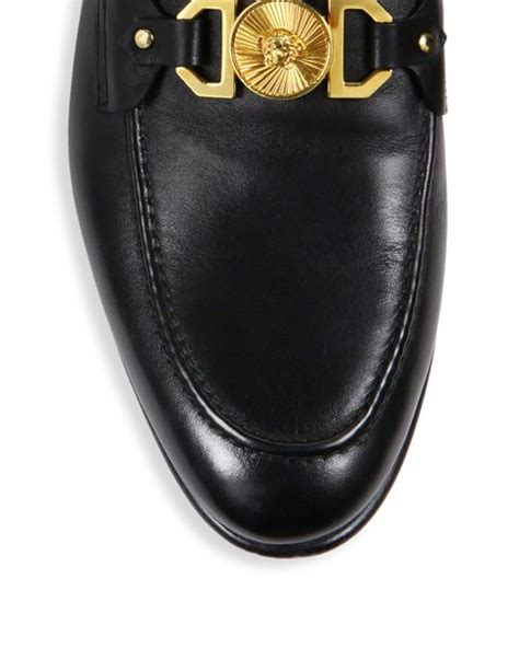 versace leather loafers versace leather open back loafers in black for lyst