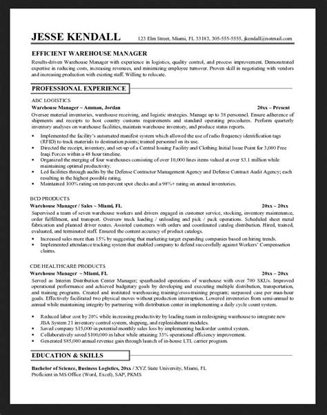 resume skills for warehouse worker free resume sle