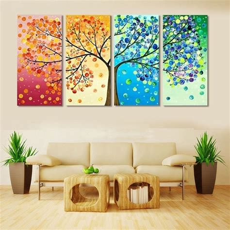 Painting For Living Room 4 Frameless Colourful Leaf Trees Canvas Painting Wall For Paintings For Living Room 7